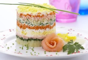 Salad Mimosa with Pacific saury