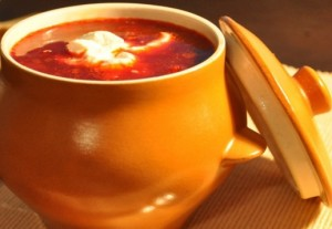 Borsch with gobies in tomato sauce